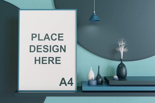 Rahmenmodell hängt an der wand mit vase in der bläulichen farbpalette Premium PSD