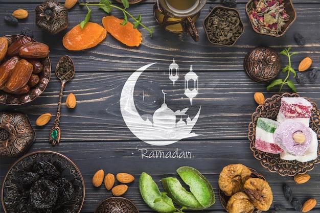 Ramadan-komposition mit flacher lage mit copyspace Kostenlosen PSD