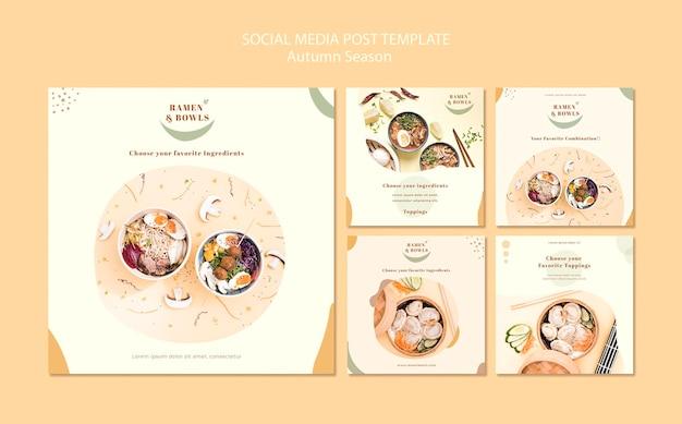 Ramen restaurant social media post vorlage Premium PSD