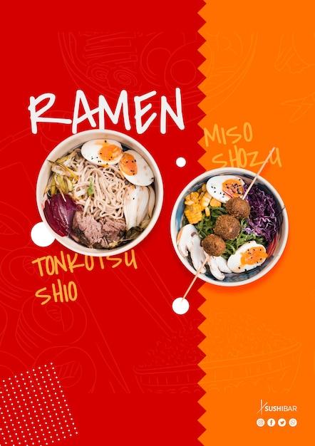 Ramenrezept für asiatisches orientalisches japanisches restaurant oder sushibar Kostenlosen PSD
