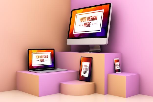 Reaktionsschnelle geräte auf einem surrealen, farbenfrohen bühnenmodell Premium PSD