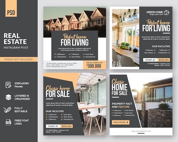 Real estate square instagram post design Premium PSD