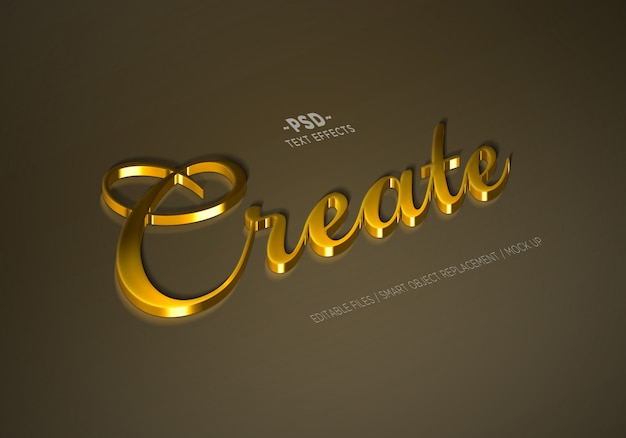 Real golden mock up style bearbeitbare texteffekte Premium PSD