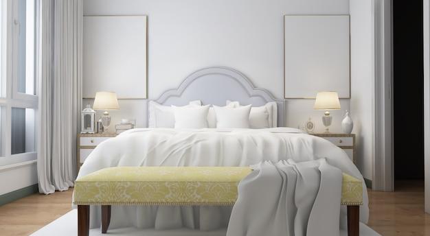 Realistisch helles modernes doppelzimmer mit möbeln Kostenlosen PSD