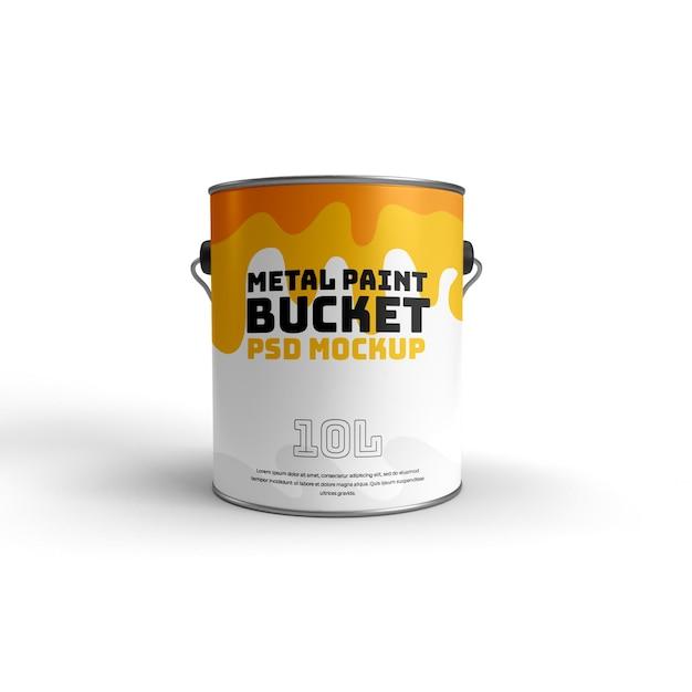 Realistische 3d-mokcup-vorderansicht des metallfarbeneimers Premium PSD