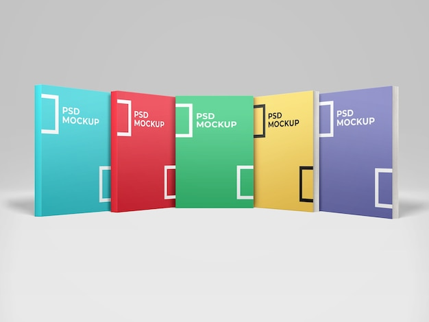 Realistische 5-buch-softcover-modell-vorderansicht Premium PSD
