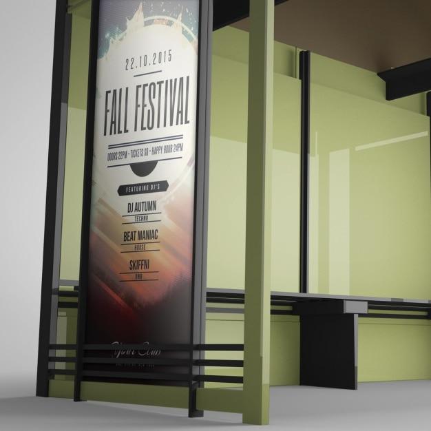 Realistische billboard-präsentation Kostenlosen PSD