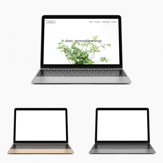Realistische laptop mock-up Kostenlosen PSD