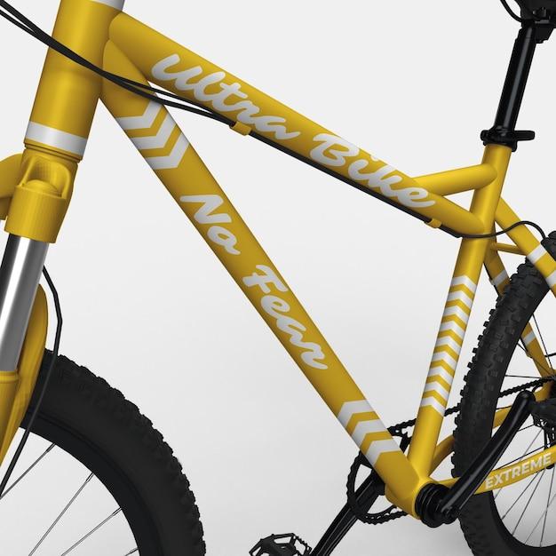 Realistische mountainbike bmx fahrrad 3d modell nahansicht Premium PSD