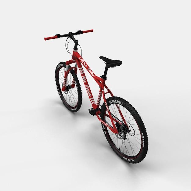 Realistische mountainbike bmx fahrrad 3d modell rückansicht Premium PSD