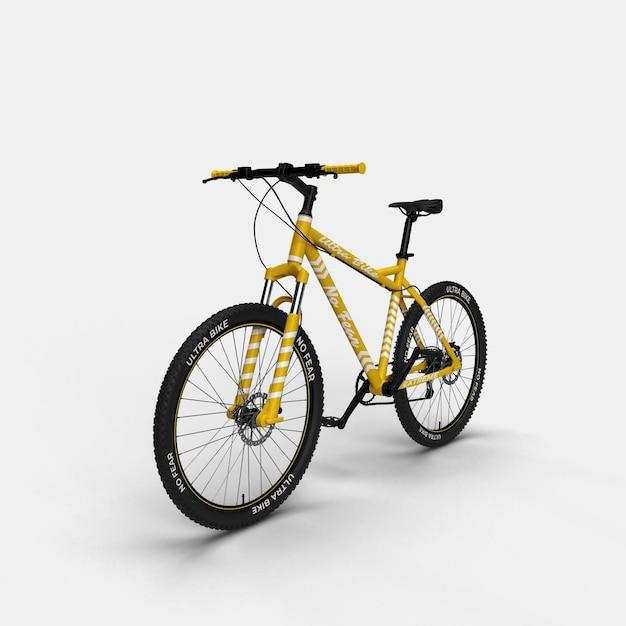 Realistische mountainbike bmx fahrrad 3d modell vorderansicht Premium PSD