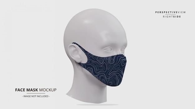 Realistische ohrschleifen-gesichtsmaskenmodellperspektive rechte seitenansicht Premium PSD
