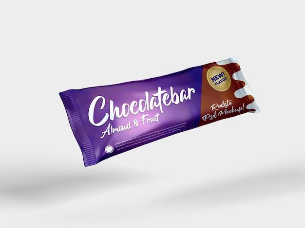 Realistische schokoriegel snack glänzend doff verpackung modell fliegende seitenansicht Premium PSD