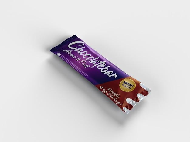 Realistische schokoriegel-snack-hochglanz-doff-verpackungsmodell-verlegeansicht Premium PSD