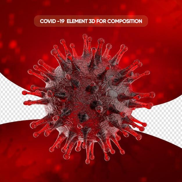 Realistische zellwiedergabe des coronavirus Premium PSD