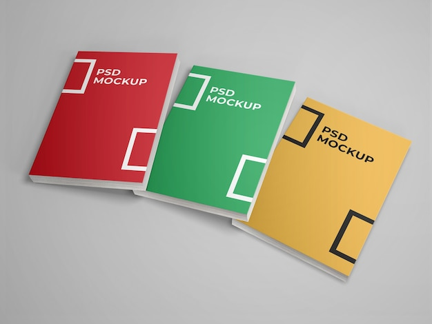 Realistisches 3-buch-softcover-modell Premium PSD