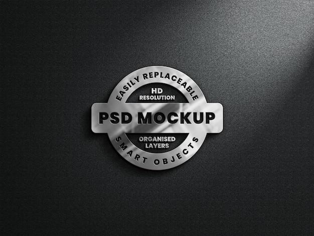Realistisches 3d-logo-modell mit metallischer textur und reflexion Premium PSD