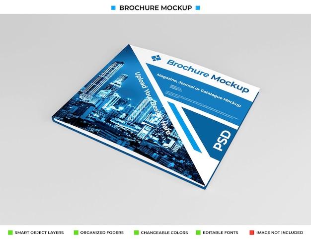 Realistisches breites broschüren-, tagebuch- oder broschürenmodell Premium PSD