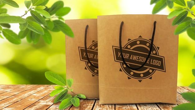 Realistisches modell von zwei wegwerfpapiereinkaufstaschen auf rustikalem holztisch Premium PSD