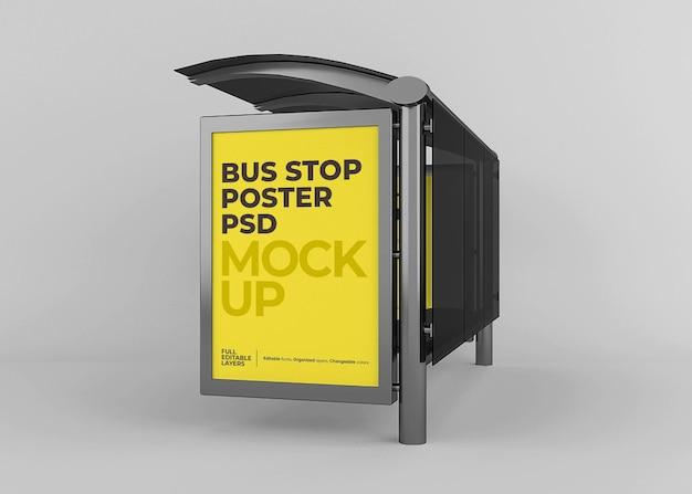 Realistisches stadtbushaltestellen-plakatmodell Premium PSD