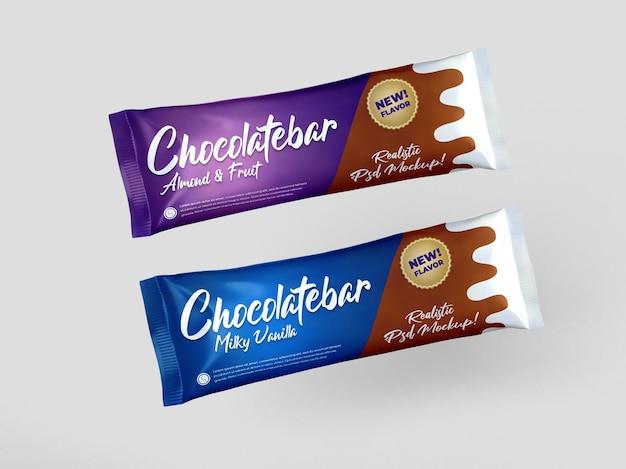 Realistisches zwei-schokoriegel-snack-hochglanz-doff-verpackungsmodell Premium PSD