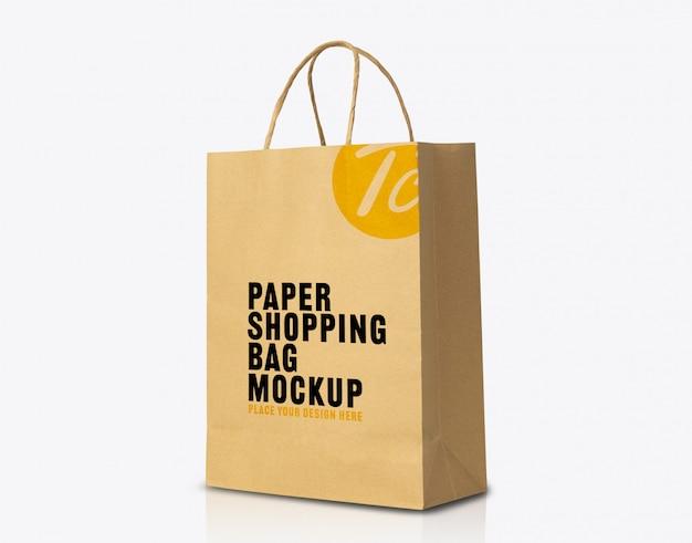 Recycelte kraft braune papiertüte modell für ihr design Premium PSD