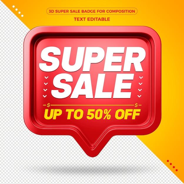 Red badge super sale promotion Premium PSD