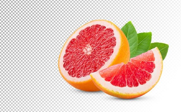 Reife hälfte der rosa grapefruit-zitrusfrucht lokalisiert auf weißem hintergrund. volle schärfentiefe Premium PSD