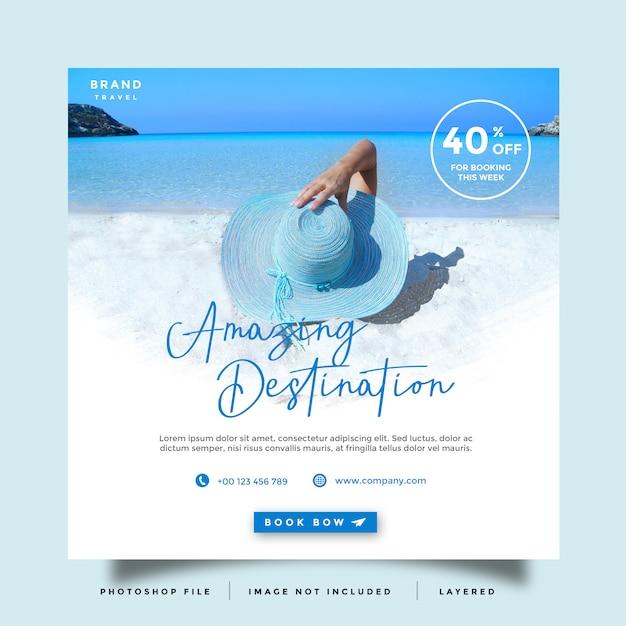 Reise social media feed post promotion Premium PSD