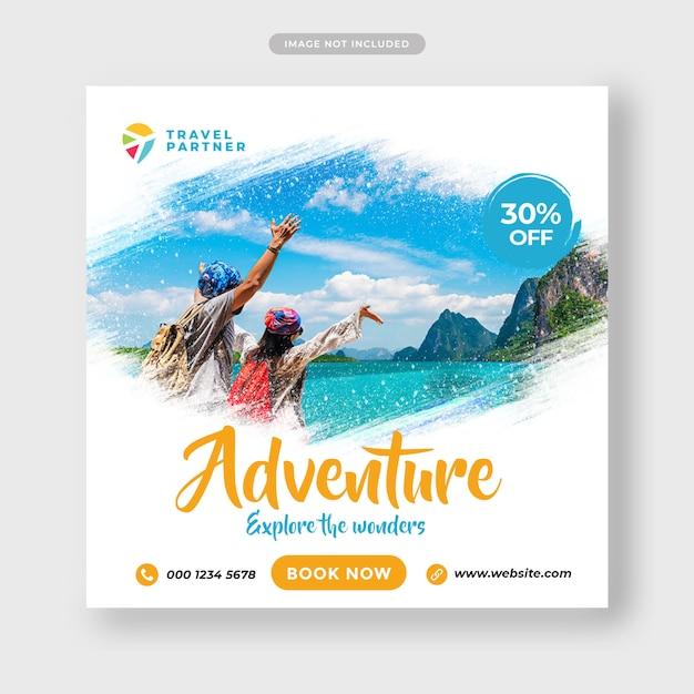Reise tour instagram post banner oder quadratische flyer vorlage Premium PSD