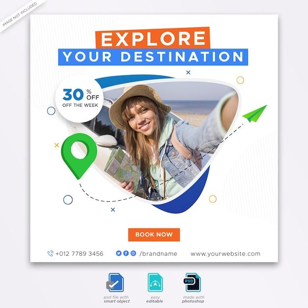 Reisebüro banner vorlage web-banner Premium PSD