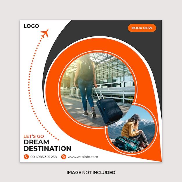 Reiseferiensocial media-beitragsschablone Premium PSD