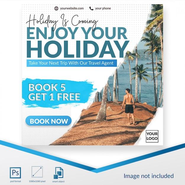 Reisen banner social media beitragsvorlage Premium PSD