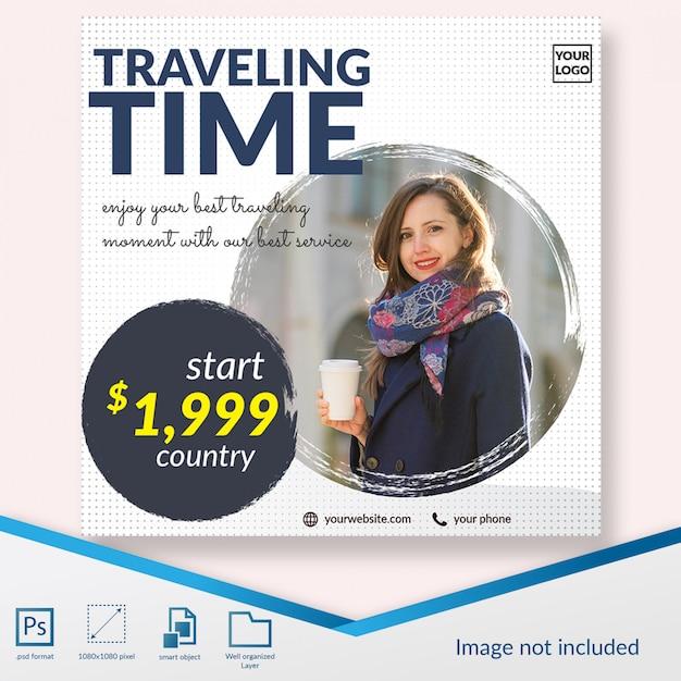 Reisezeit bieten social media beitrag vorlage banner Premium PSD