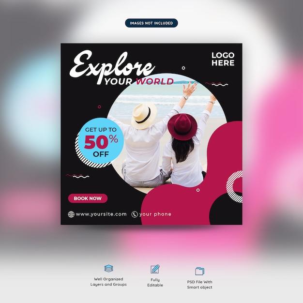 Reisezeit-social media-verkaufsposten oder fahnenschablone Premium PSD