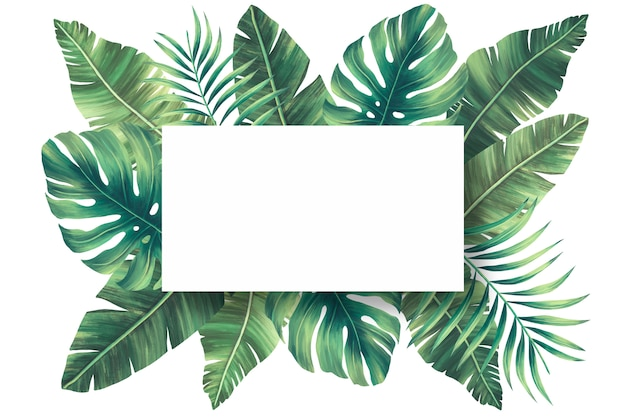 Reizender natürlicher rahmen mit tropischen blättern Kostenlosen PSD