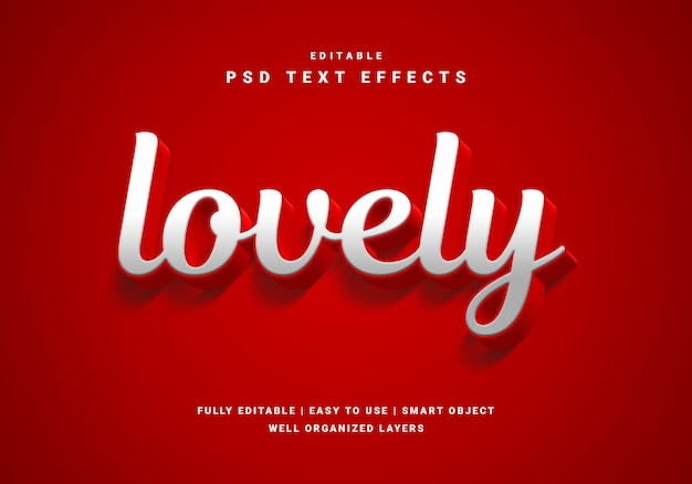 Reizender texteffekt des valentinsgrußes der art 3d Premium PSD