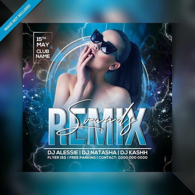 Remix klingt party flyer Premium PSD