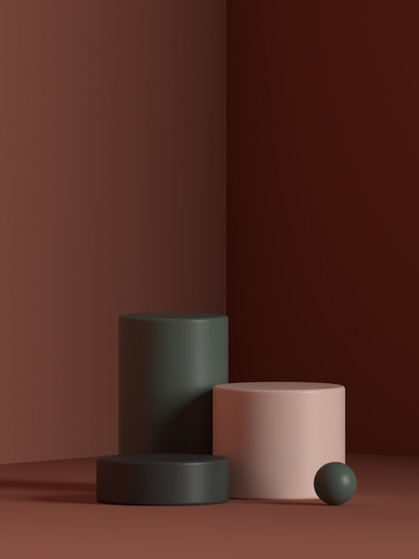 Render scene geometry shape podium rendering Premium PSD
