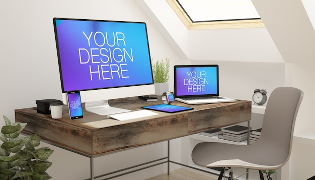 Responsive devices-bildschirmmodell im dachgeschoss Premium PSD