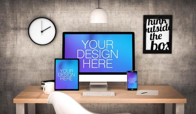 Responsive geräte auf einem desktop-modell Premium PSD