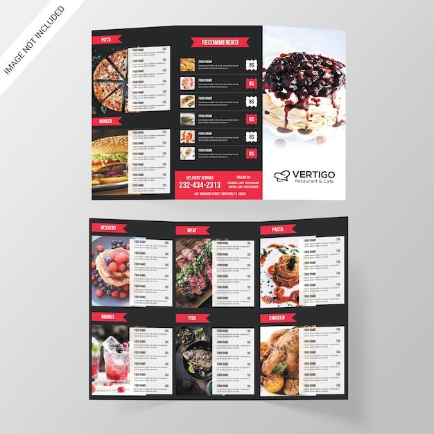 Restaurant dreifach gefaltete broschüre Premium PSD