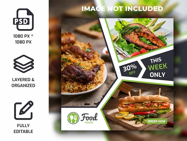 Restaurant essen social media beitrag banner vorlage psd Premium PSD