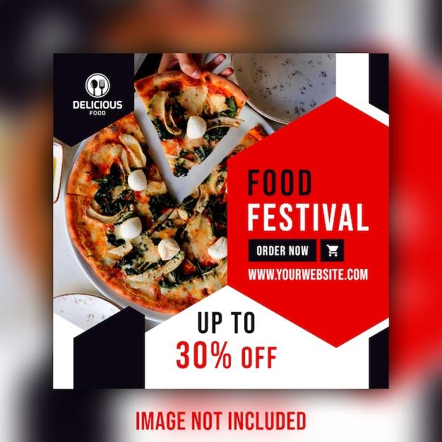 Restaurant essen social media beitrag banner vorlage Premium PSD