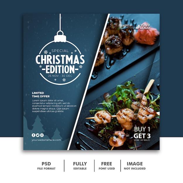 Restaurant food menü christamas social media post vorlage Premium PSD