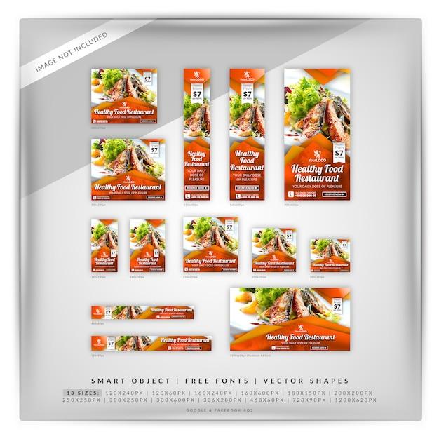 Restaurant-marketing-anzeigen von google und facebook Premium PSD