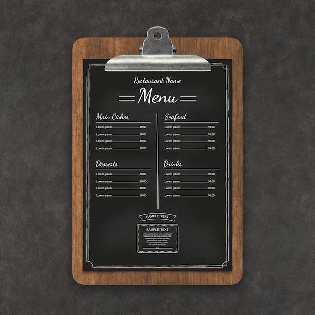 Restaurant menü mockup Premium PSD