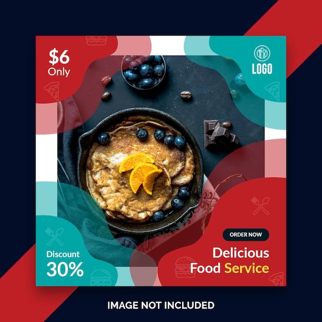 Restaurantlebensmittel instagram beitrag, quadratische fahne Premium PSD