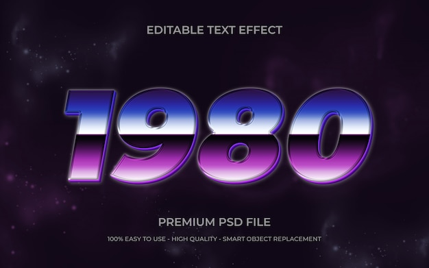 Retro bearbeitbarer text Premium PSD