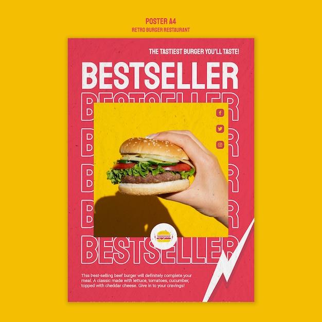 Retro burger restaurant design Kostenlosen PSD